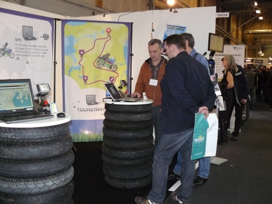 Tourstart demonstration of motorcycle planning tool at motorcycle exhibition