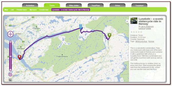 Skærmbillede af Planlægning af motorcykel tur og overførsel til motorcykel GPS på Tourstart