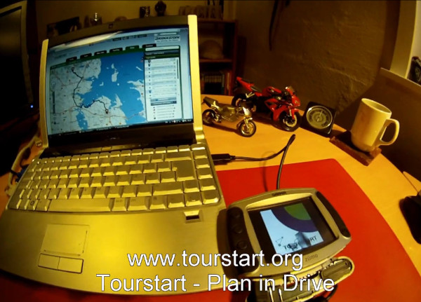 Dell laptop with garmin zumo 550 gps for motorcycle tour  plan