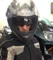 Airoh Motorcycle helmet_motorcyclist and honda vfr 750