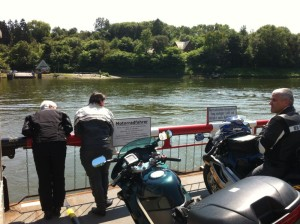 Crossing Kieler Canal with motorcycles
