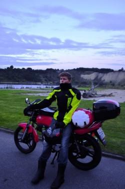 Lukas J on his motorcycle