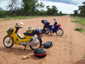 The motorcycles after the accident on the dirt road i South Africa