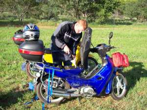 Filling the motorcycle with benzin in South Africa