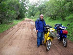 Motorcycles on the dirt road near Ellisras