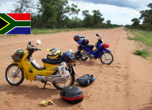 South Africa on Chinese Motorcycle on a dirt road