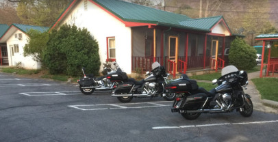 The three Harleys parked neatly