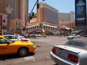 Las Vegas with yellow cab and Venice bridge