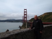 Motorcyclist in front of Golden Gate