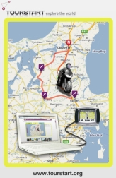 Tourstart illustration with route planning and transfer to a gps