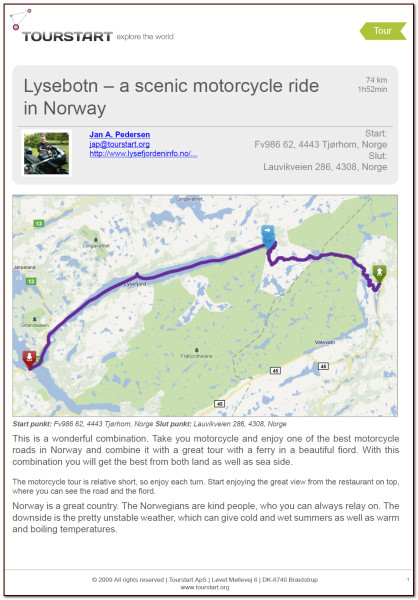 PDF of motorcycle tour at Suleskarvejen in Norway