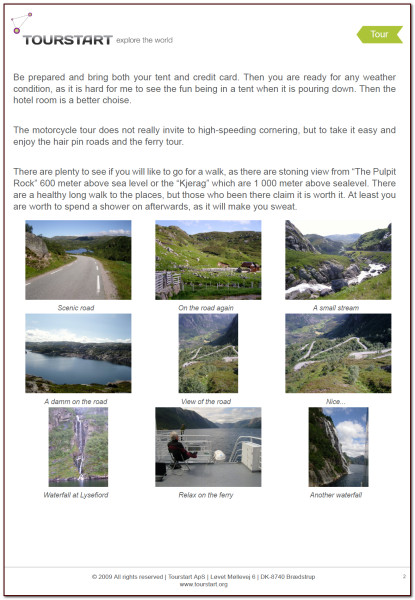 PDF of motorcycle tour at Lysefjord, Norway