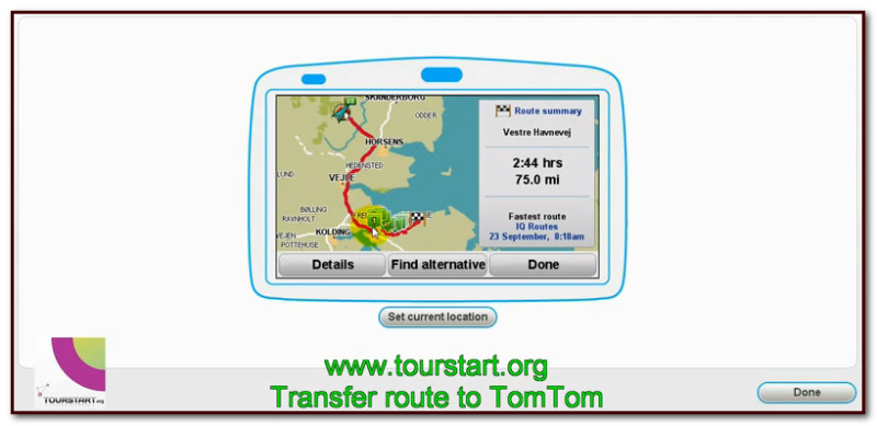 Transfer motorcycle route to TomTom