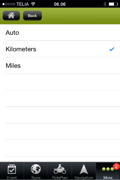 Tourstart iPhone app units selection