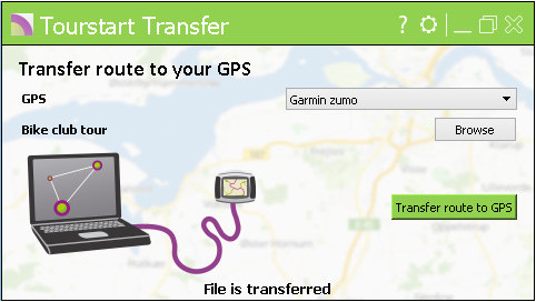Tourstart Transfer - easy transfer to TomTom and Garmin motorcycle GPS