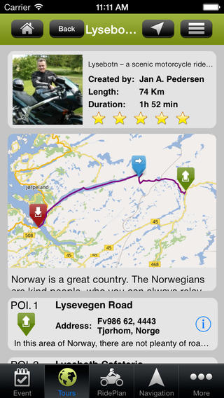 Motorcycle tour on Tourstart iPhone app