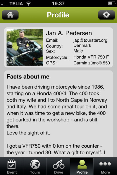 Profile on Tourstart iPhone app